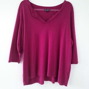 Womens Lands' End Magenta Pink 3/4 Sleeve Blouse